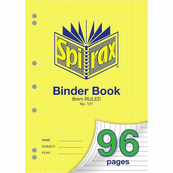 Spirax 121 Binder Book 96 Page A4 8mm Ruled X CARTON of 10 56121