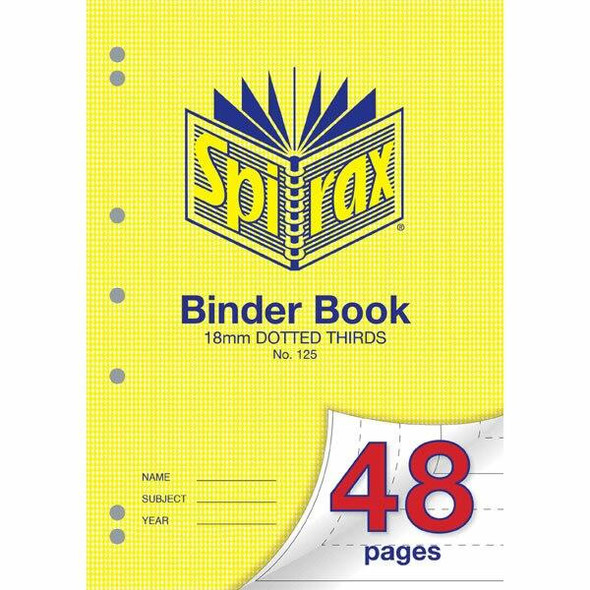Spirax 125 Binder Book A4 48 Page 18mm Dotted Thirds X CARTON of 20 56125