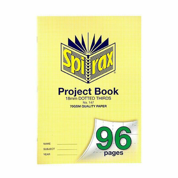 Spirax 147 Project Book A4 96 Page 18mm Dotted Thirds X CARTON of 10 56147