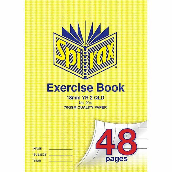Spirax 204 Exercsie Book A4 18mm Ruled Year 2 48page X CARTON of 20 56204
