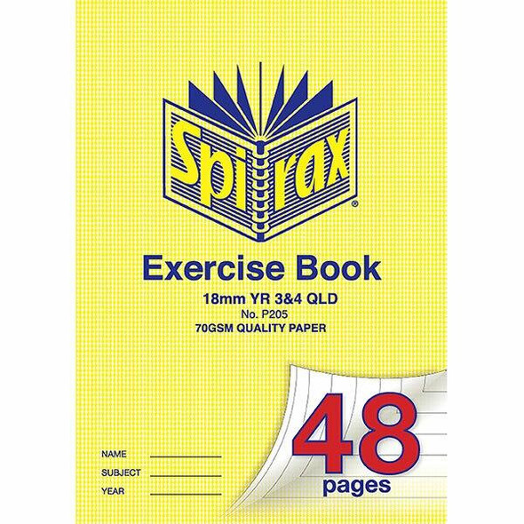 Spirax 205 Exercise Book A4 12mm Ruled Year 3and4 48page X CARTON of 20 56205
