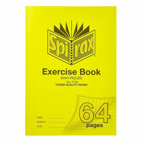 Spirax P106 Exercise Book A4 8mm 64page X CARTON of 10 56106P