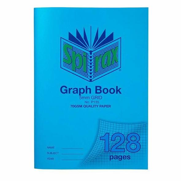 Spirax P135 Grid Book A4 5mm 128page X CARTON of 10 56135P