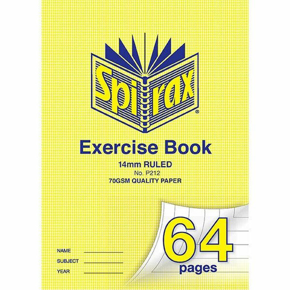 Spirax P212 Exercise Book A4 14mm 64page X CARTON of 10 56212P