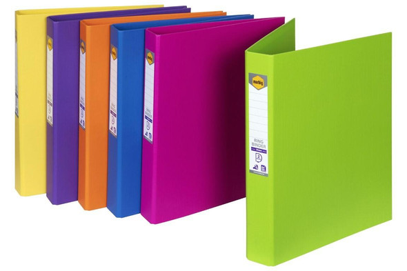 Marbig Ring Binder A4 25mm 2d Pe Assorted Colours X CARTON of 12 5012099