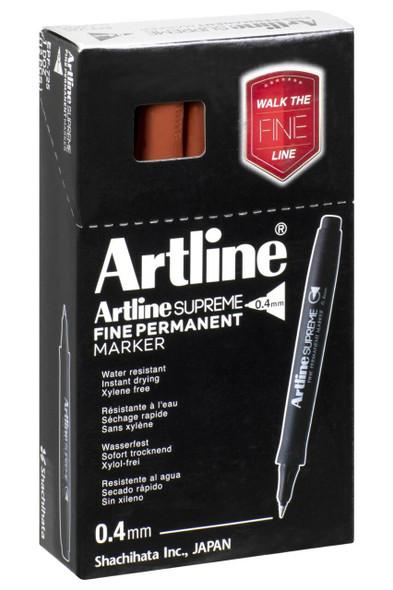 Artline Supreme Prm Marker 0.4mm Brown BOX12 107412