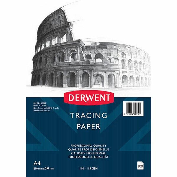 DERWENT Professional Tracing Paper 110-115gsm A4 Pack100 50249