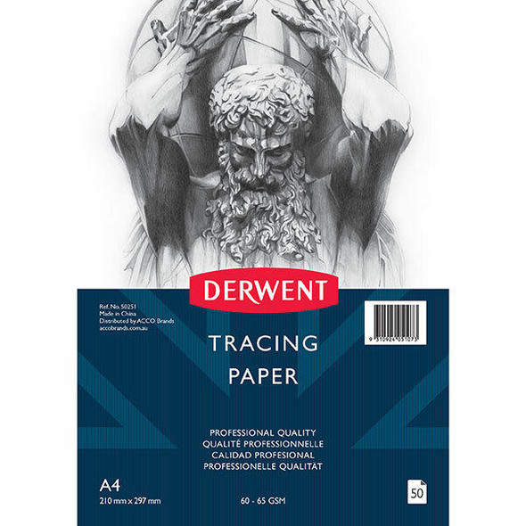 DERWENT Professional Tracing Paper 60-65gsm A4 Pad 50 Sheet X CARTON of 5 50251