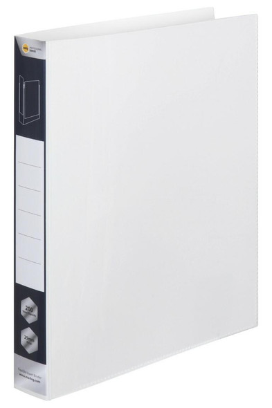 Marbig Professional Pp Insert Binder 2d 25mm White X CARTON of 12 5602002R