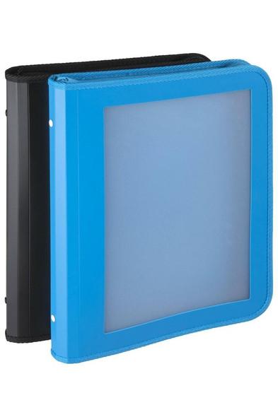 Marbig Professional Zipper Binder W/ Insert Cvr 25mm 2d Black/Blue Assorted X CARTON of 10 6990097