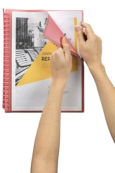 Marbig Refillable Display Book 20 Pocket Insert Cover Pink X CARTON of 12 2008609