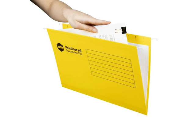 Marbig Reinforced Suspension File Complete Yellow Box25 X CARTON of 5 8100255