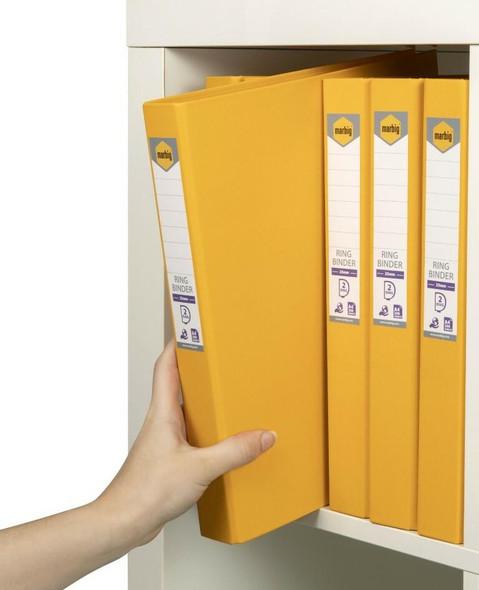 Marbig Ring Binder A4 25mm 2d Pe Yellow X CARTON of 6 5022130