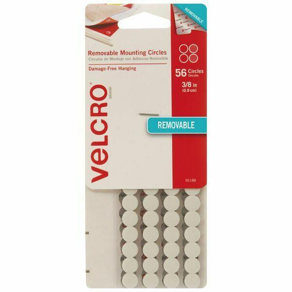 VELCRO Removable Circles 0.9cm 56 Pack White X CARTON of 6 95188V