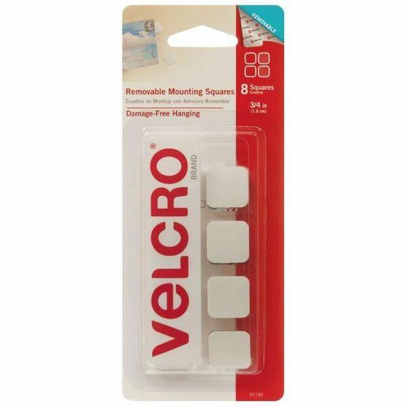 VELCRO Removable Squares 1.9cm 8 Pack White X CARTON of 6 95190V
