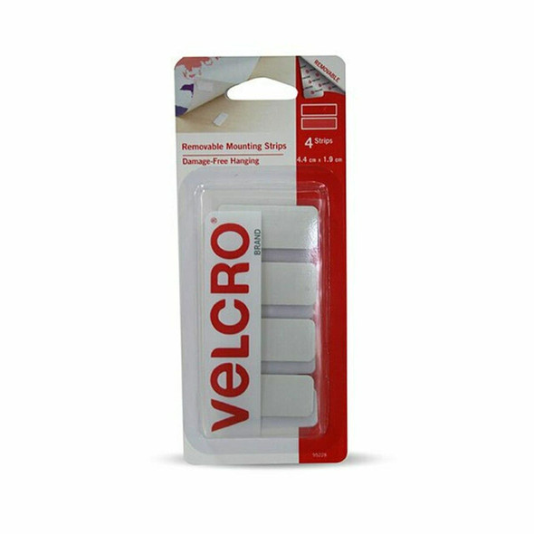 VELCRO Removable Strips 4.4x1.9cm 4 Pack White X CARTON of 6 95189V