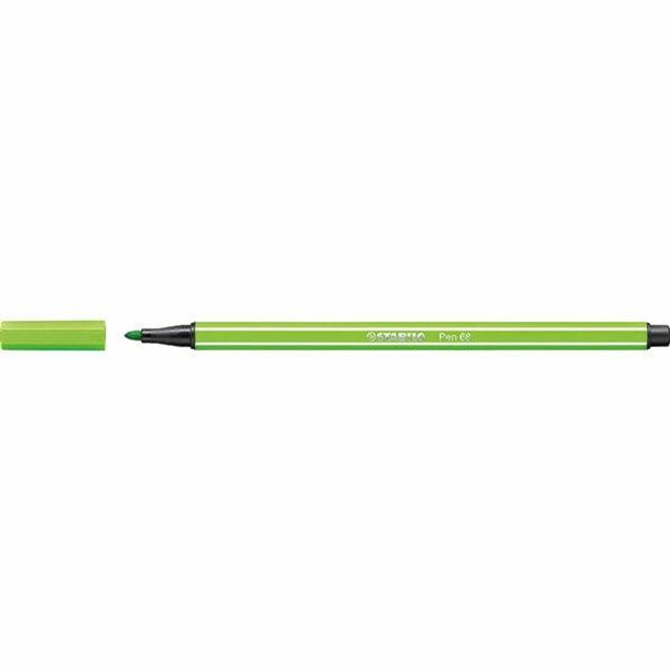STABILO Pen 68 Fibre Tip Light Green BOX10 0350860