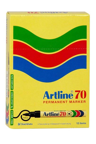 Artline 70 Permanent Marker 1.5mm Bullet Nib Black BOX12 107001
