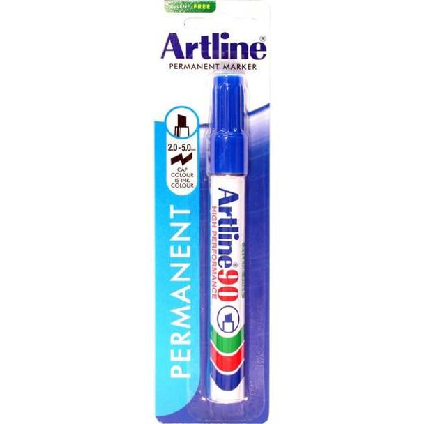 Artline 90 Permanent Marker 5mm Chisel Nib Blue Hangsell X CARTON of 12 109063