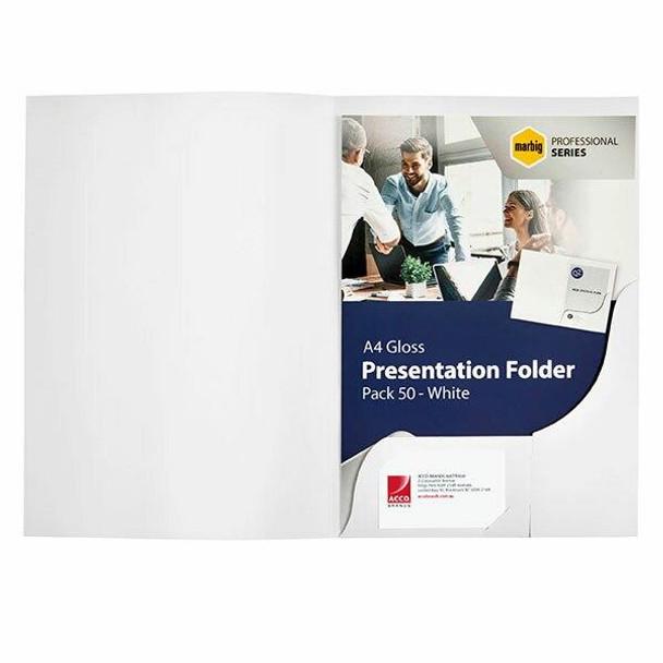 Marbig Professional Presentation Folders A4 Gloss WhiteA'A Box50 1104308