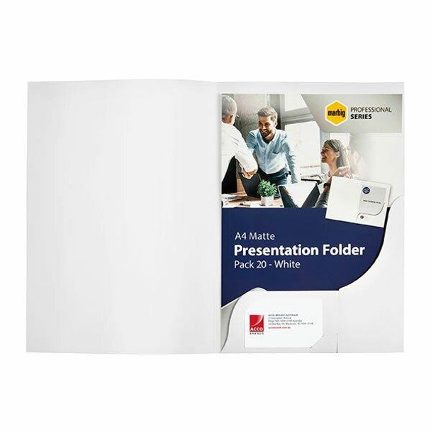 Marbig Professional Presentation Folders A4A'A matteA'A whiteA'A Pack20A'A 1106308
