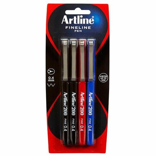 Artline 200 Fineliner Pen 0.4mm Assorted 4Pack Hangsell X CARTON of 12 120084