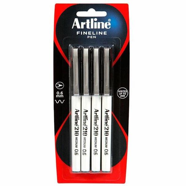 Artline 210 Fineliner Pen 0.6mm Black Pack4 X CARTON of 12 121082