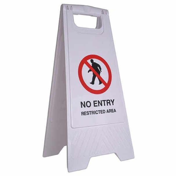 Cleanlink Safety Sign No Entry Restricted Area White 12163