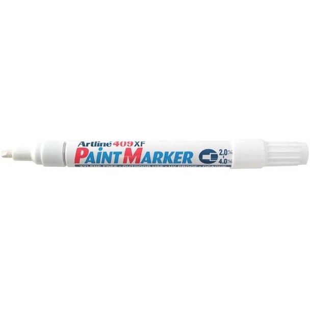 Artline 409 Permanent Paint Marker 4.0mm Chisel White BOX12 140933