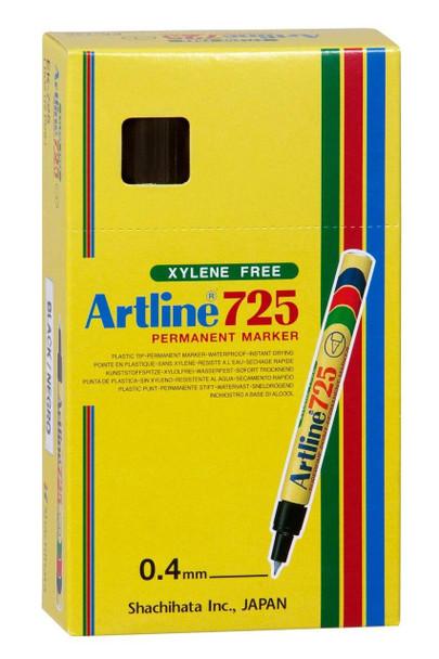 Artline 725 Permanent Marker 0.4mm Plastic Nib Black BOX12 172501