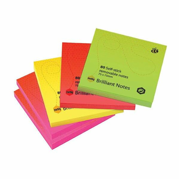 Marbig Notes Brilliant 75x75mm Assorted Pack5 X CARTON of 6 1810699
