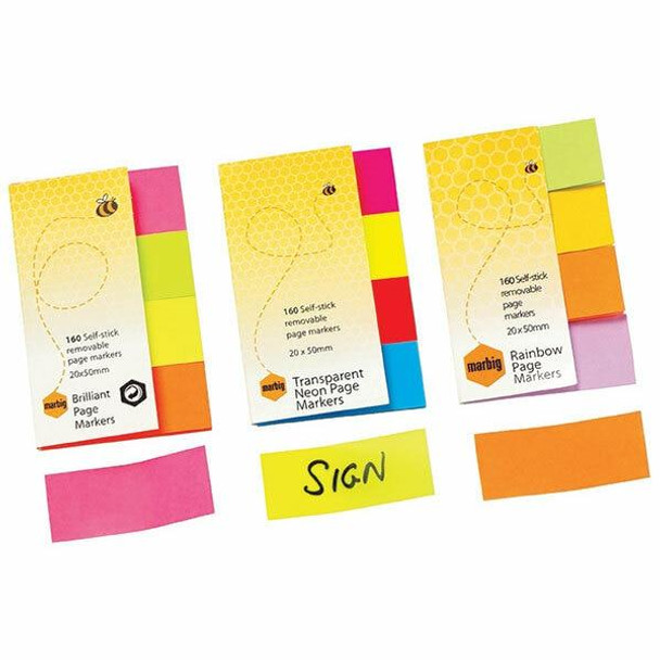 Marbig Notes Brilliant page Marker 20x50mm 160sht 16 X CARTON of 10 1811105