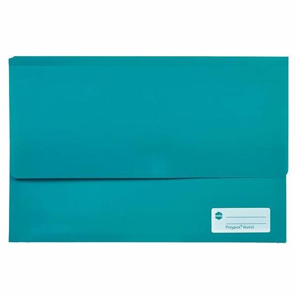 Marbig Polypick Foolscap Document Wallet Teal X CARTON of 12 2011004