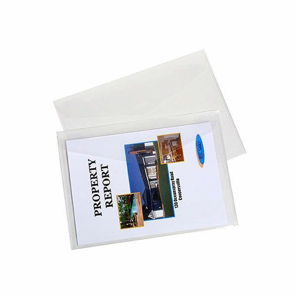 Marbig Document Wallet A4 Clear Pack 4 X CARTON of 10 2015312