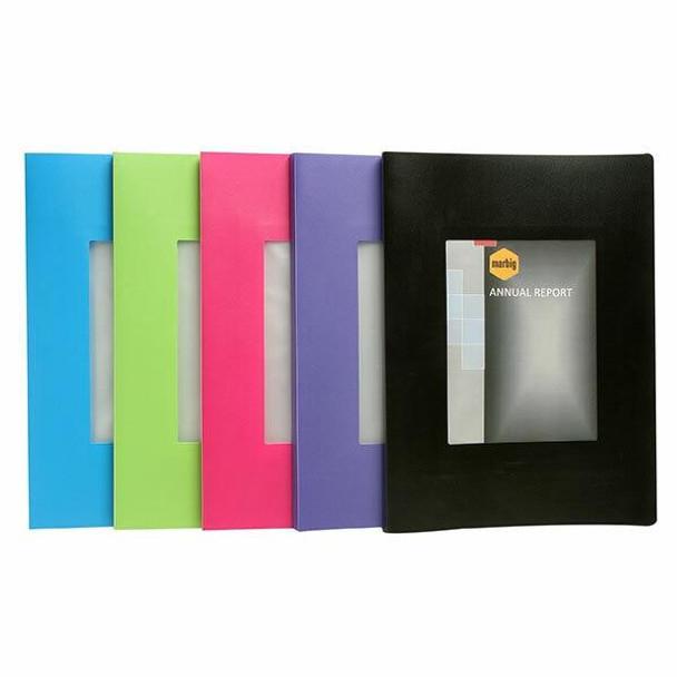 Marbig Non-Refillable Display Book 20 Pocket With Frame Black X CARTON of 6 2018802