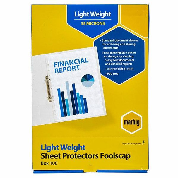 Marbig Sheet Protectors Lightweight Foolscap 100Pack 25155