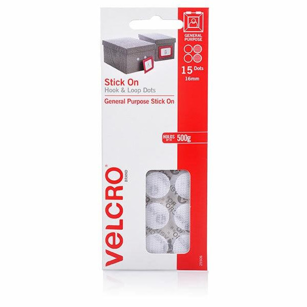 VELCRO Stick On Hook and Loop Dots 15 16mm White X CARTON of 10 25506