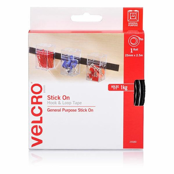 VELCRO Stick On Hook and Loop Tape 25mmx2.5m Black X CARTON of 5 25580