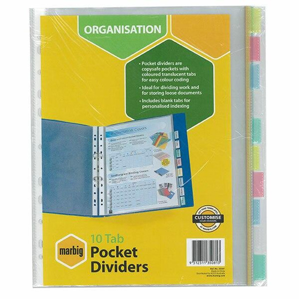 Marbig Indices and Dividers 10 Tab Pp A4 Clear Pockets X CARTON of 10 35081