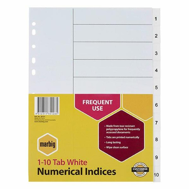 Marbig Indices and Dividers 1-10 Tab Pp A4 White X CARTON of 30 35121