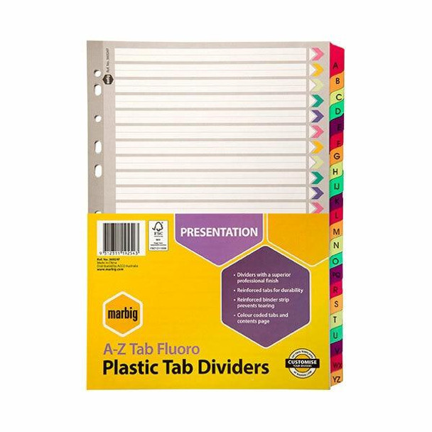 Marbig Indices and Dividers A-Z Tab Reinforced A4 Fluoro X CARTON of 10 36024F