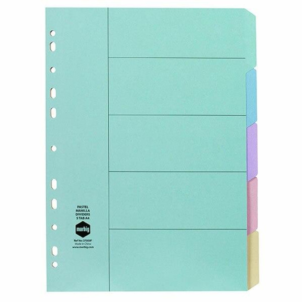 Marbig Indices and Dividers 5 Tab Manilla A4 Pastel X CARTON of 100 37000F