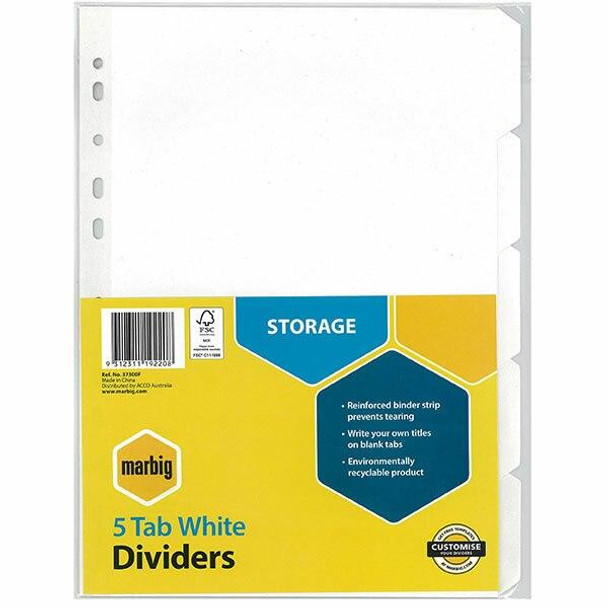 Marbig Indices and Dividers 5 Tab Manilla A4 White X CARTON of 50 37300F