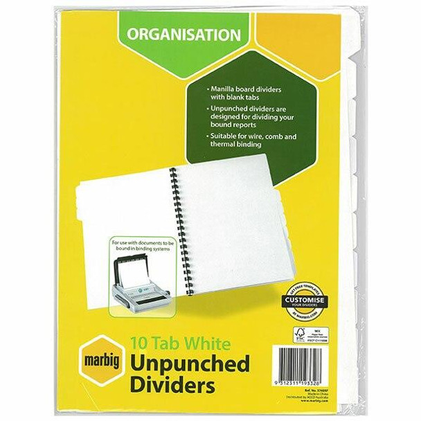 Marbig Indices and Dividers 10 Tab Manilla A4 Unpunched X CARTON of 25 37405F