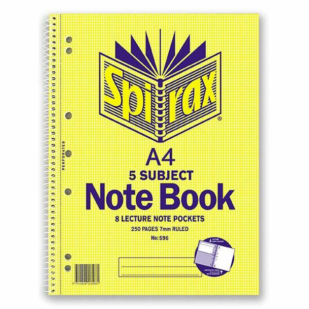 Spirax 596 5 Subject Notebook A4 250 Page X CARTON of 5 43111