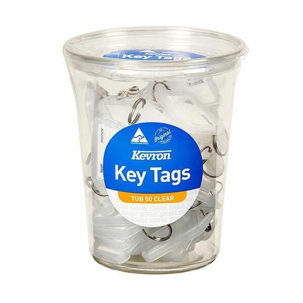 Kevron ID5 Keytags Clear Disposable Tub 50 47049