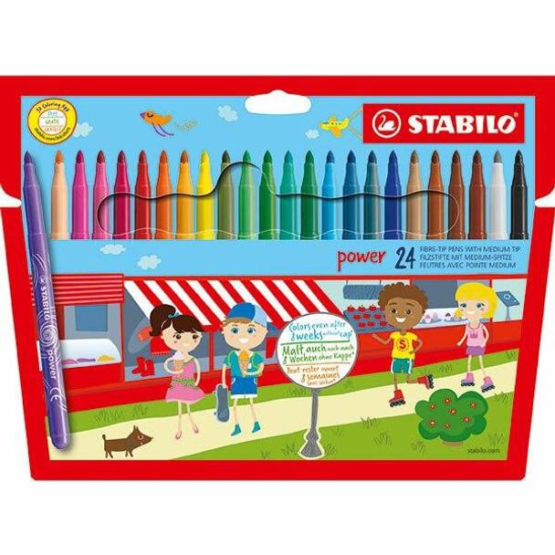 STABILO Power Fibre Tip Pen Wallet24 X CARTON of 6 49725