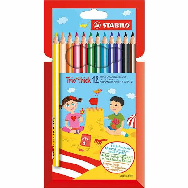 STABILO Trio Thick Coloured Pencils Wallet12 X CARTON of 6 49735
