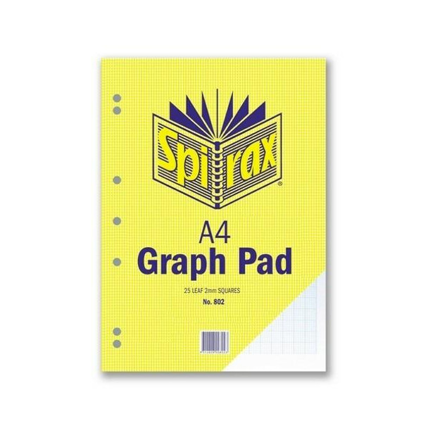 Spirax 802 Graph Pad 2mm A4 25 LeAnti-Fatigue X CARTON of 10 56083
