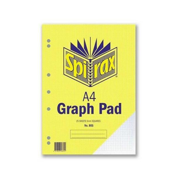 Spirax 805 Graph Pad 5mm A4 25 LeAnti-Fatigue X CARTON of 10 56084